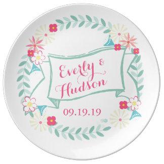 Porcelain Anniversary Wedding Floral Garland Plate Porcelain Plates