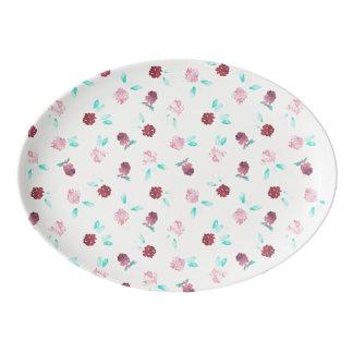 Porcelain coupe platter with flowers of clover porcelain serving platter