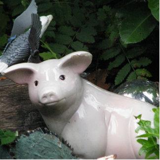 Porcelain Pig Standing Photo Sculpture