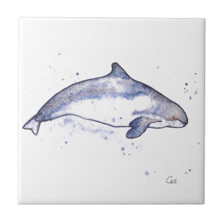 Porpoise Illustration Small Square Tile
