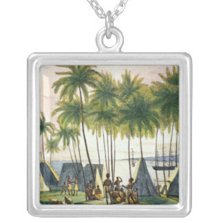 Port of Hanarourou in the Sandwich Islands Silver Plated Necklace