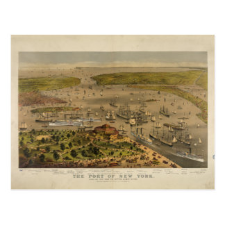 Port of New York by Ives in 1878 Postcard