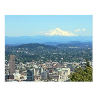Portland, Oregon City View, Mount Hood background Postcard