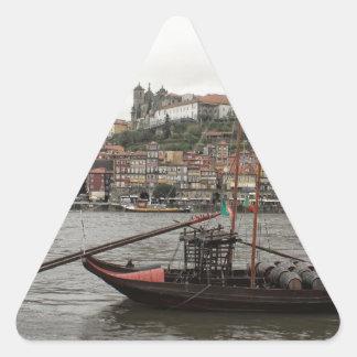 Porto waterfront, Portugal Triangle Sticker