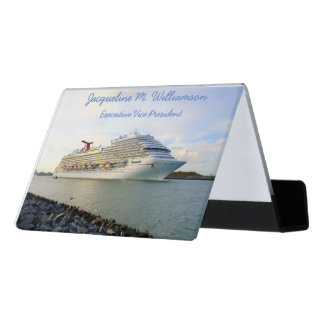 Portrait of a Cruise Ship Personalized Desk Business Card Holder