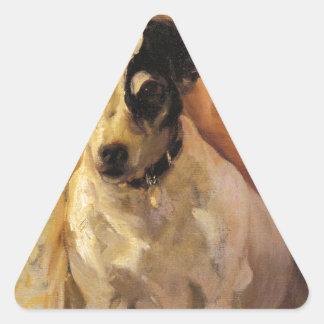 Portrait of a Jack Russell by Joaquín Sorolla Triangle Sticker