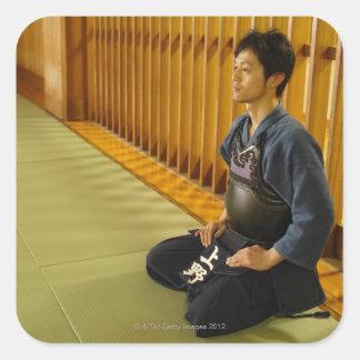 Portrait of a Kendo Fencer Square Sticker