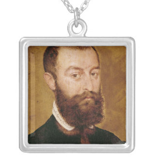 Portrait of a Man with a Beard Silver Plated Necklace