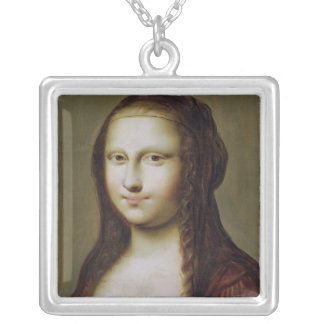 Portrait of a Woman Inspired by the Mona Lisa Silver Plated Necklace