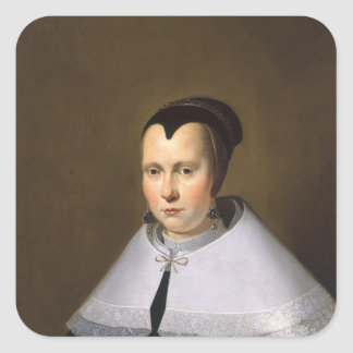 Portrait of a Woman (oil on panel Square Sticker