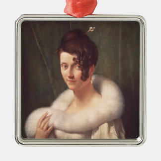 Portrait of a woman with a hair pin christmas ornament
