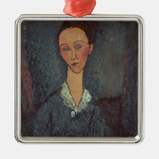 Portrait of a Woman with a White Collar (oil on ca Silver-Colored Square Decoration