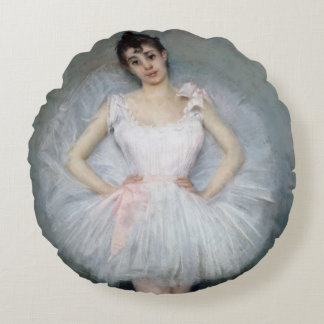 Portrait of a Young Ballerina Round Cushion