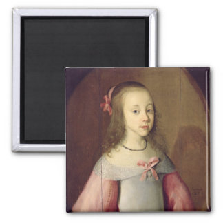 Portrait of a Young Girl, 1651 Square Magnet