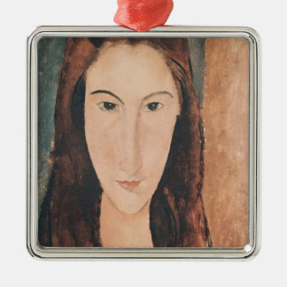Portrait of a Young Girl Silver-Colored Square Decoration