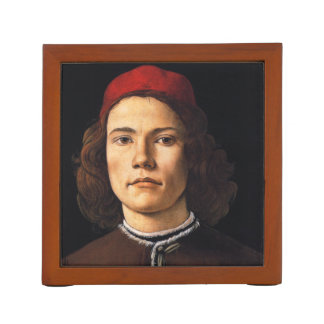 Portrait of a Young Man by Sandro Botticelli Desk Organiser
