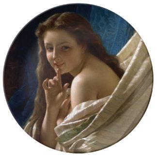 Portrait of a Young Woman by Pierre Auguste Cot Porcelain Plates
