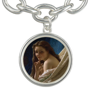 Portrait of a Young Woman by Pierre Auguste Cot Charm Bracelets