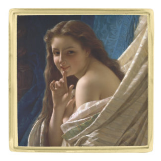 Portrait of a Young Woman by Pierre Auguste Cot Gold Finish Lapel Pin