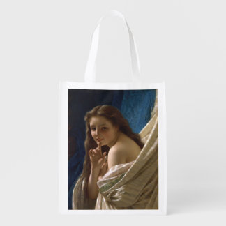 Portrait of a Young Woman by Pierre Auguste Cot Reusable Grocery Bag