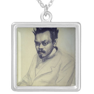 Portrait of Alexei M. Remizov, 1907 Silver Plated Necklace