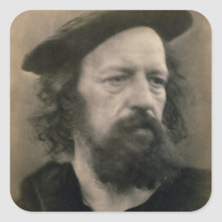 Portrait of Alfred, Lord Tennyson (1809-92) (b/w p Square Sticker