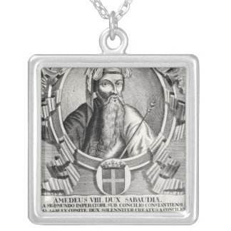 Portrait of Amedee VIII Le Pacifique Silver Plated Necklace