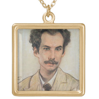 Portrait of Boris Nikolayevich Bugaev (1880-1934) Gold Plated Necklace