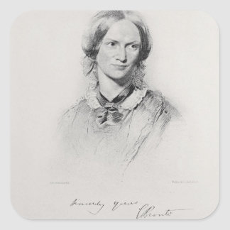 Portrait of Charlotte Bronte, engraved by Walker a Square Sticker