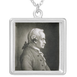 Portrait of Emmanuel Kant , German philosopher Silver Plated Necklace