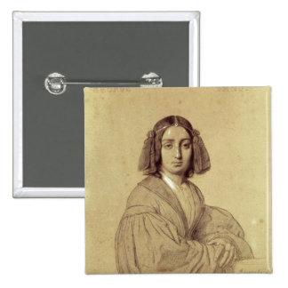 Portrait of George Sand  1837 15 Cm Square Badge