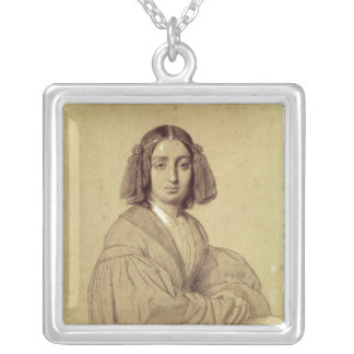 Portrait of George Sand  1837 Silver Plated Necklace