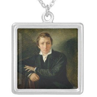 Portrait of Heinrich Heine  1831 Silver Plated Necklace