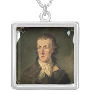 Portrait of Jacques Pierre Brissot Silver Plated Necklace