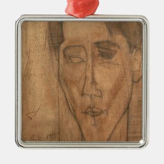 Portrait of Jean Cocteau (1889-1963) 1917 (pencil Silver-Colored Square Decoration