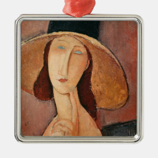 Portrait of Jeanne Hebuterne in a large hat Silver-Colored Square Decoration