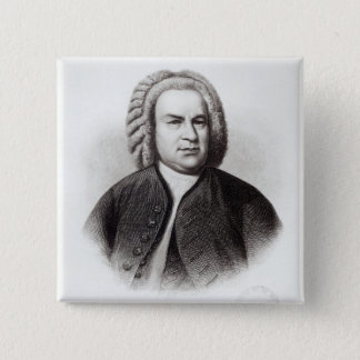 Portrait of Johann Sebastian Bach 15 Cm Square Badge