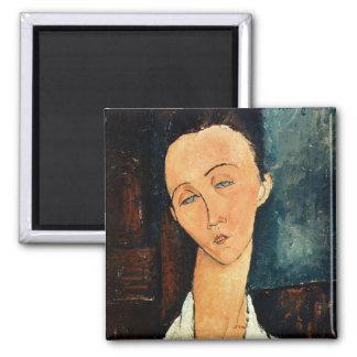Portrait of Lunia Czechowska, 1918 Square Magnet