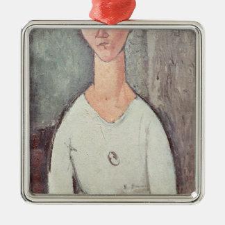 Portrait of Madame Chakowska, 1917 Silver-Colored Square Decoration
