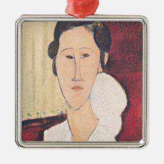 Portrait of Madame Hanka Zborowska, 1917 Silver-Colored Square Decoration