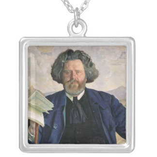 Portrait of Maximilian Voloshin  1924 Silver Plated Necklace