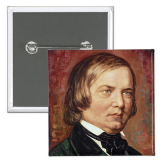Portrait of Robert Schumann 15 Cm Square Badge