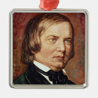 Portrait of Robert Schumann Silver-Colored Square Decoration