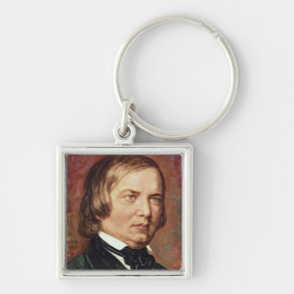 Portrait of Robert Schumann Silver-Colored Square Key Ring