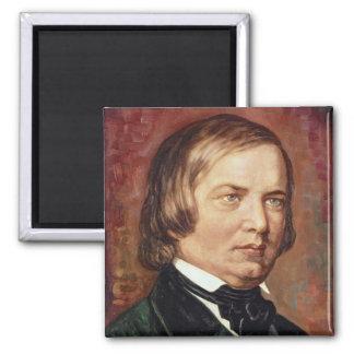 Portrait of Robert Schumann Square Magnet