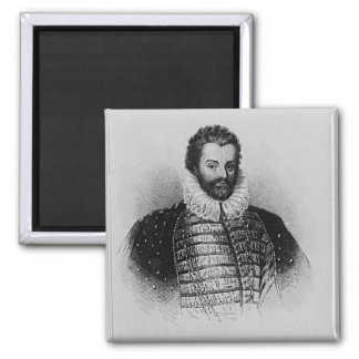 Portrait of Sir Christopher Hatton Square Magnet