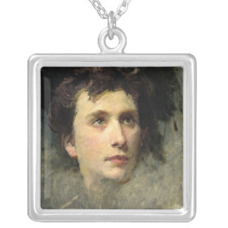 Portrait of the composer Pyotr Ilyich Silver Plated Necklace