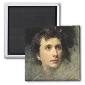 Portrait of the composer Pyotr Ilyich Square Magnet
