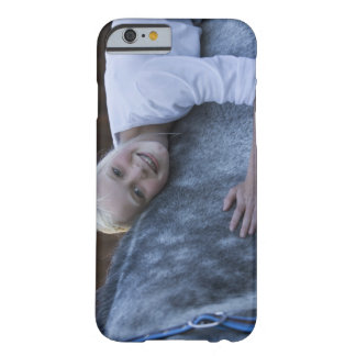 portrait of young girl on white horse barely there iPhone 6 case