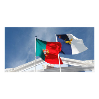Portugal and Azores flags Personalized Photo Card